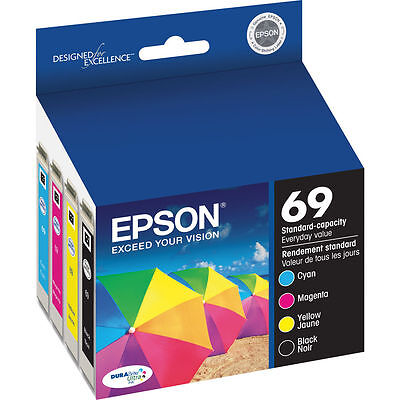 Epson Genuine 69 BCMY 4-Pack of Ink Cartridges for CX5000 CX6000 CX7000F CX7400
