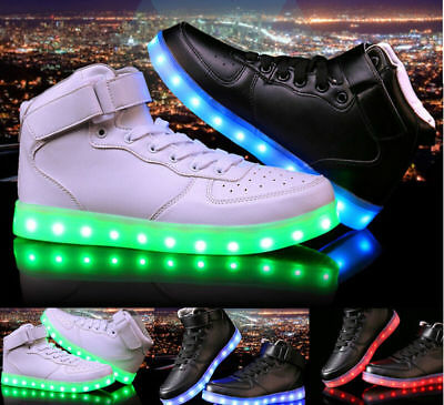 AU Kids High Boys Girls USB LED Light Up Casual Luminous Sneakers Shoes Gift BOX
