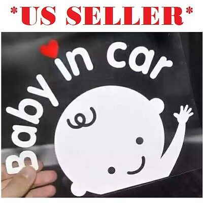 *US SELLER* Baby BOY on Board in Car Safety Sticker Reflective Decal Sign Heart