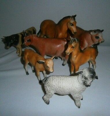 Lot of 6 Vintage CREATIVE PLAYTHINGS RUBBER FARM ANIMALS Cows Horses Sheep