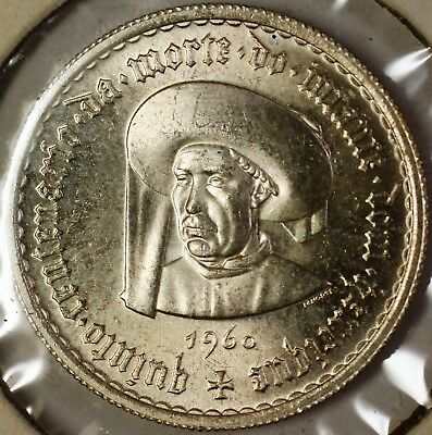 1960 Portugal 5 Escudos Death of Prince Henry the Navigator BU Silver Coin