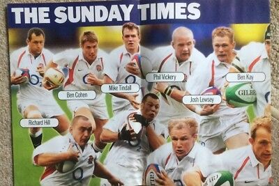 The Sunday Times England Rugby and World Team 2003 Double sided Poster