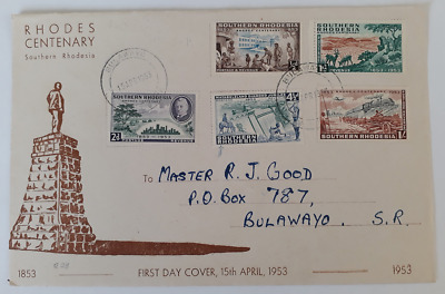 Rhodesia First Day Cover- 15th April 1953. Rhodes Centenary.