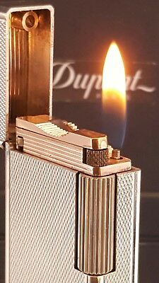 ST DuPont Lighter Silver Line 1 Large Diamond Head Functional Warranty VGC F55
