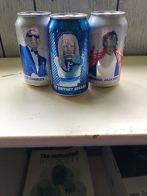 New Pepsi Can Britney Spears, Michael Jackson, Ray Charles, Never Opened Set 3