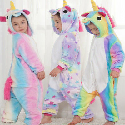 4dcae3fdf7b1c Enfant Rainbow Licorne Kigurumi Animal Pyjamas Cosplay Costume Vêtements De  Nuit