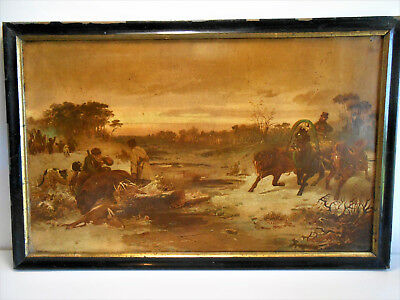 CADRE CHROMO CHASSE AUX CERF OURS RUSSIE (lithographie)FRAME BEAR DEER HUNTING