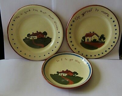3 Vintage Dartmouth Pottery Devon Motto Ware Side Plates. Hand Made in England