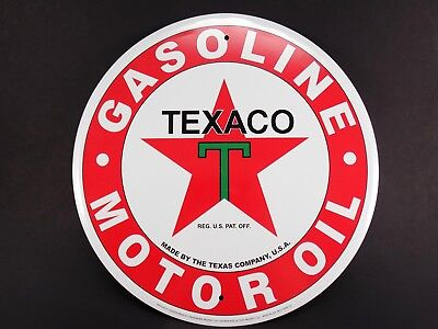 "Vintage Style Round 12"" Metal Sign TEXACO GASOLINE MOTOR OIL - Made in USA"