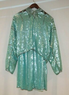 Vintage Judith Ann Creations (Top, Blouse, Shirt) & Skirt, Teal Turquoise Silver