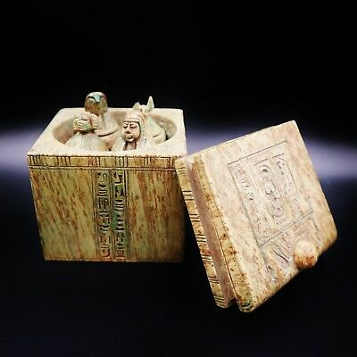Rare Large Antique Egyptian BOX Set of 4 Canopic Jars Organs Storage Statues
