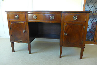WRITING DESK - VINTAGE BOW-FRONTED with leather top  COLLECTION ONLY (Devon)