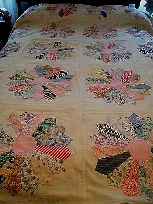 Vintage Hand Made Quilt Top Dresden Plate Made Completly From Feed Sacks #2