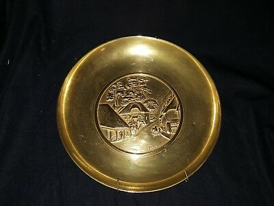 Vintage Cockington Forge 3D Relief Brass Decorative Plate Wall Decor USED #1
