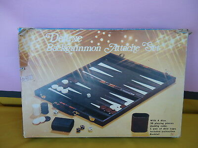 BACKGAMMON Deluxe Attache Set BOXED/CASE Complete/Instructions GOOD COND.#5230