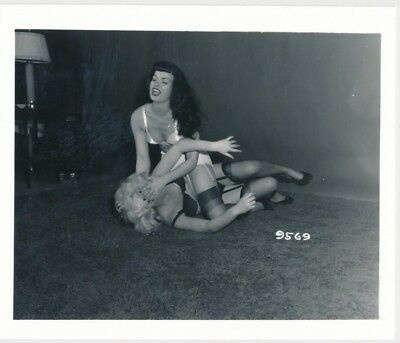 Irving Klaw Archives VTG 4x5 B&W Photo Sexy Bettie Page Girl Fight 9569