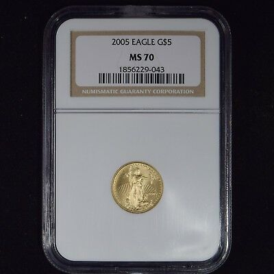 2005 $5 American Gold Eagle 1/10 Oz Bullion Coin Ngc Ms70