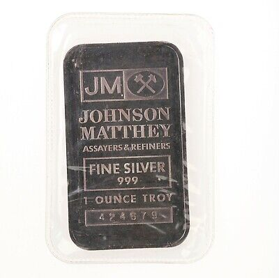 Vintage Johnson Matthey 1oz 999 Fine Silver Bar Original Plastic Nice Patina