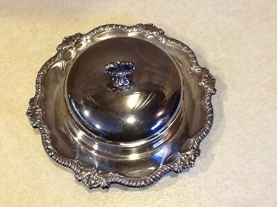 Vintage Fifth Ave Antique Silverplate Covered /Caviar/Butter Dish Insert & Lid