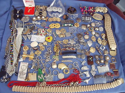148 Pc Lot Misc Jewelry-Tiaras-Barrettes-Scarf & Shoe Clips-Lanyards-Belts-Combs