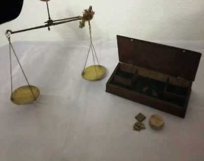 Antique Brass and Steel Boxed Balance and Coin Weights Early 19thCent/Late18th