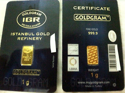 1 gram 24K 999 GOLD BULLION BAR LMBA CERTIFIED