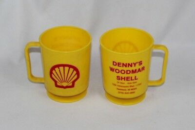 Vintage Lot of 2 Shell Gas Station Plastic Coffee Cups - Denny's Woodmar Shell