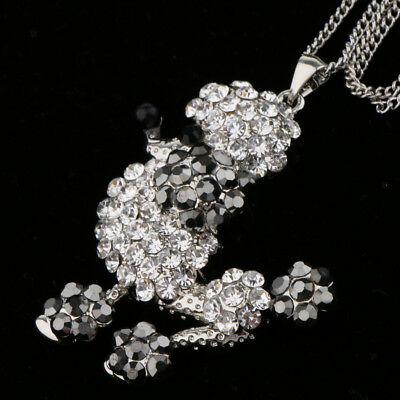 Lovely Lady Jewelry Poodle Puppy Dogs Pendant Necklace Long Chain Necklaces