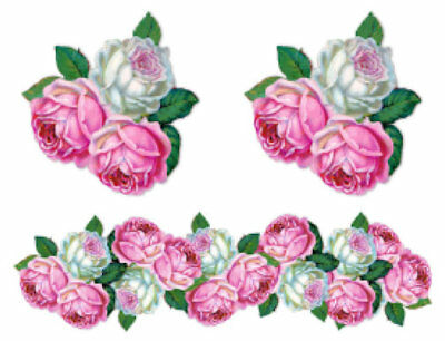 Vintage Image Shabby Pink Cabbage Roses Flower Swag Waterslide Decals FL305