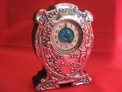 Lovely 1903 Liberty Inspired Solid Silver & Enamel Mantle Clock.working Movement