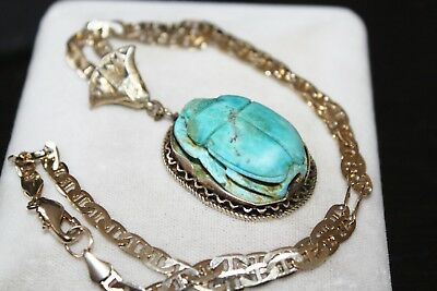 ART DECO Antique EGYPTIAN Faience GOLD on STERLING carved SCARAB Pendant Necklac