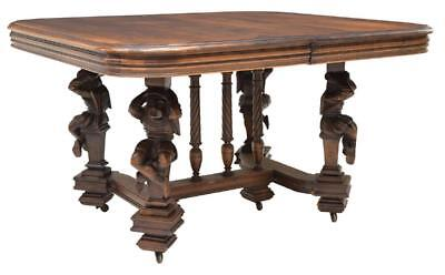 HENRI II STYLE FIGURAL CARVED EXTENSION TABLE, 19th century ( 1800s )