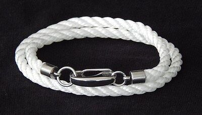 Nautical Double Rope Bracelet White Heavy Duty Stainless Snap Hook Hand Made USA