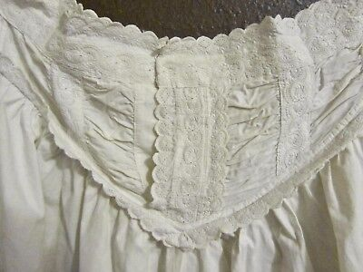 Antique Victorian Handmade Cotton Nightgown Signed & Dated 1895 VTG Night Dress