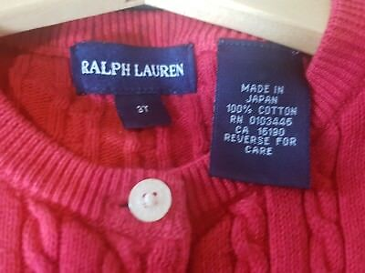 Ralph Lauren Girls Cardigan Size 3