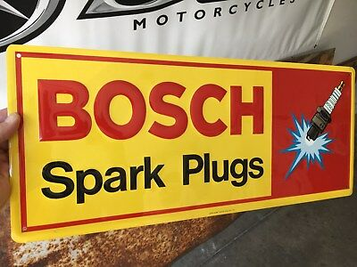 "Bosch Spark Plug metal sign - 1977 - New Old Stock - 23 1/2"" x 10"" embossed"