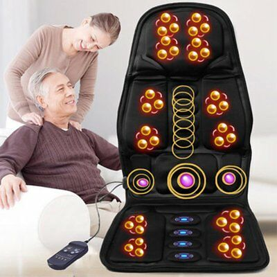 Heated Back Massage Seat Cushion Car Seat Chair Lumbar Neck Pad Massager Heater
