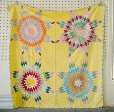 Antique star flower Quilt  Yellow with multicolored stars