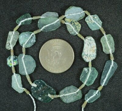 Ancient Roman Glass Beads 1 Medium Strand Aqua And Green 100 -200 Bc 839