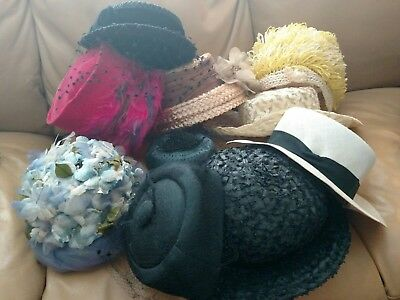 Lot of 10 Vintage Women's Hats - Some Marked Union Made - Filbert Orcel Paris