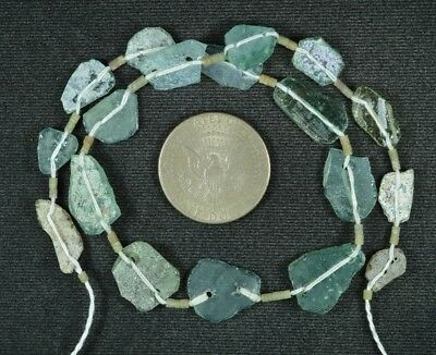 Ancient Roman Glass Beads 1 Medium Strand Aqua And Green 100 -200 Bc 841