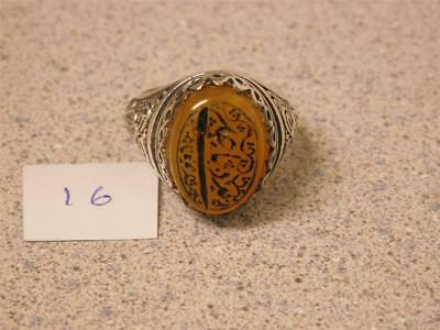 Beautiful Hand Made Custom Carve Cut Men's Silver Ring With  Large Yellow Aqeeq