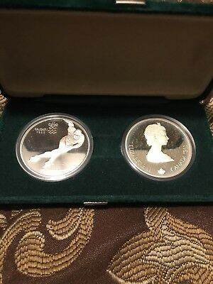 1988 Calgary Winter Olympics Silver $20 Canadian Dollar each, 2 PROOF coin Set