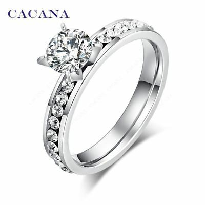 CACANA Titanium Stainless Steel Rings For Women Circle CZ  Fashion Jewelry Whole