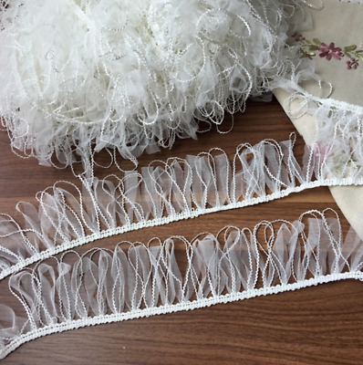Ivory Chiffon Organza 8cm Wide Trim Tassel Fringe Lace DIY Craft price per 30cm
