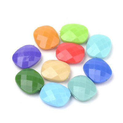 50pcs Faceted Studded Acrylic Beads 2 Hole Multi-Strand Loose Spacer Square 12mm
