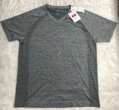 dbec9e3c02a39e UNIQLO DRY-EX SS Athletic Fitness V-Neck Gray T-Shirt Men s size XL ...