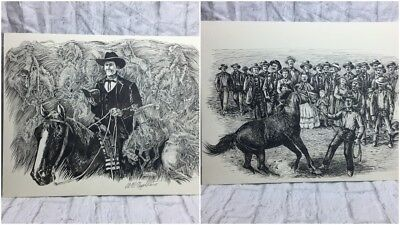 Western Artist Al Martin Napoletano Two Pen And Ink Drawings