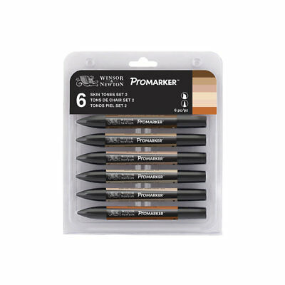 Winsor & Newton ProMarker 6 Colour Permanent Twin Tip Markers Skin Tones Set #2