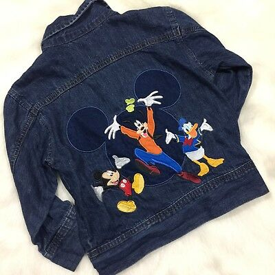 90's VTG The Disney Store Mickey Mouse & Friends Embroidered Denim Jacket Sz 4T